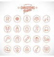 Line Style Christmas and New Year Icon Set With vector image