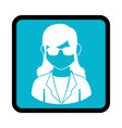 square button with silhouette executive woman vector image