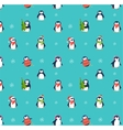 Cute penguins pattern - Merry Christmas greetings vector image vector image