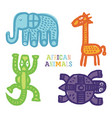 set cute cartoon african animals paintbrush vector image