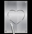 metal page with image of heart vector image vector image
