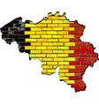 Belgium map on a brick wall vector image