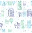 Town Houses Trees Streets Blue Green vector image