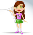 Cute little schoolgirl with speech bubble for text vector image