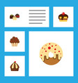 flat cake set of cake muffin doughnut and other vector image