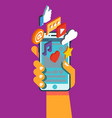 hand hold smartphone with mobile applications vector image