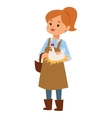 Woman and little chicken vector image
