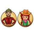 Male and female adult on round badge vector image vector image
