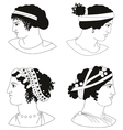 Set of images of ancient Greek women heads vector image