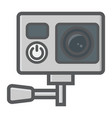 action camera colorful line icon device vector image