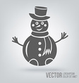 Icon snowman isolated black on white background vector image