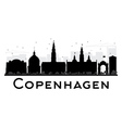 Copenhagen City skyline black and white silhouette vector image