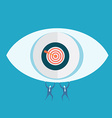 Eyes target and business man vector image