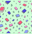 fun seamless pattern with cartoon books vector image