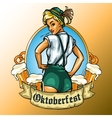 Pretty Bavarian girl label vector image