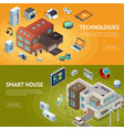 intelligent house isometric banners vector image