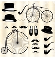 set of the gentleman and bicycle vector image