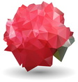 Abstract red rose in origami style on white vector image