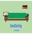 Couch surfing Travel all over the world for free vector image
