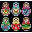 Matryoshka Russian doll colorful icons set on bla vector image