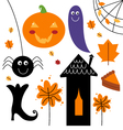 Beautiful colorful Halloween elements vector image