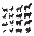 Farm animals black silhouettes vector image