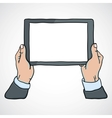 mans hands holding a tablet vector image