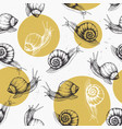 seamless pattern with hand drawn snails vector image