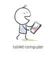 Tablet screen with graph vector image