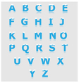 White and blue alphabet set a to z vector image