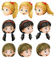 Young girl faces vector image
