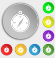 compass icon sign Symbol on eight flat buttons vector image
