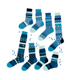 Christmas blue striped socks in patchwork style vector image