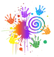 Hands print with ink splat vector image