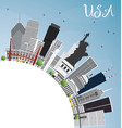 usa skyline with gray skyscrapers landmarks and vector image