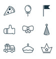 set of 9 new year icons includes corona lorry vector image