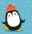 Hand drawn of cute penguin wearing red hat vector image