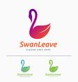Beautiful minimal swan logo vector image
