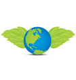 earth with leaf wing vector image