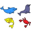 Set of sea animals vector image