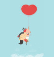 Valentine couple with flying heart ballong vector image