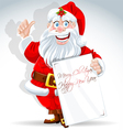 Cute Santa Claus holds banner for text vector image