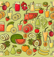 seamless pattern of colorful fruit juic vector image