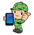 soldier character and smartphone isolated on vector image