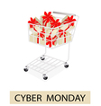 A Shopping Cart on Cyber Monday Label vector image