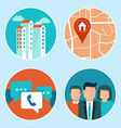 office address and phone icons in flat style vector image