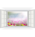 Open window with Beautiful flowers vector image