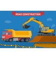 Excavator digging pit in the ground and load truck vector image