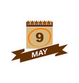 9 may calendar with ribbon vector image