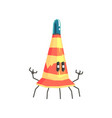 cute cartoon robot traffic cone character vector image